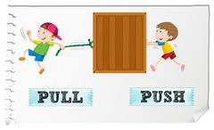 Opposite adjectives pull and push Stock Illustration