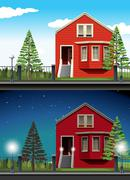 Scene of private house day and night - stock illustration