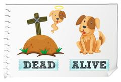 Opposite adjective with dead and alive Stock Illustration