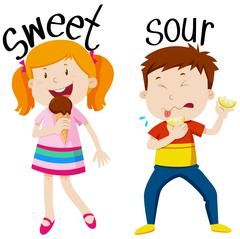 Opposite adjectives with sweet and sour - stock illustration