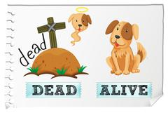 Opposite adjectives dead and alive Stock Illustration