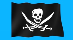 Calico-Jack-pirate-flag. Waving (PNG) computer animatie. Stock Footage