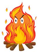 Campfire with angry face - stock illustration