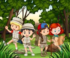 Group of children hiking in the forest - stock illustration