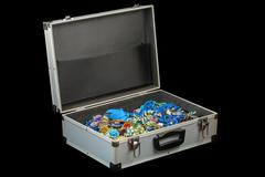 bijouterie collection in briefcase - stock photo