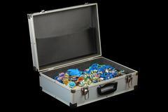 Bijouterie collection in briefcase Stock Photos