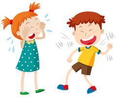 Girl crying and boy laughing - stock illustration