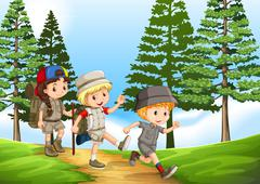 Group of children hiking in the park - stock illustration