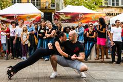 Dancer on street during a Festival Stock Photos