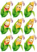 Corn with facial expressions Stock Illustration