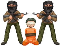 Two terrorists with guns and a victim Stock Illustration