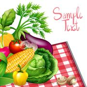 Fresh vegetables with sample text - stock illustration