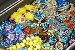 Bijouterie background close up Stock Photos