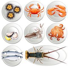 Various kind of seafood on plates Stock Illustration