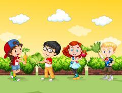 Children with fresh vegetables - stock illustration