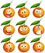 Fresh oranges with facial expressions - stock illustration