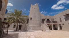Historic fort at the Museum of Ajman timelapse hyperlapse, United Arab Emirates Stock Footage