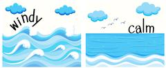 Opposite adjectives with windy and calm - stock illustration