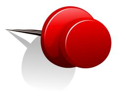 Sharp pin in red color - stock illustration
