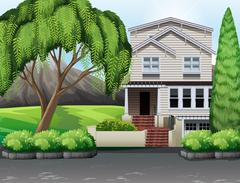 Single house with backyard - stock illustration