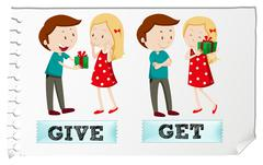 Action verbs give and get - stock illustration