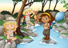 Children having fun at the waterfall - stock illustration