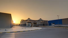 Sunset at free zone of Ajman timelapse. Ajman is the capital of the emirate of Stock Footage