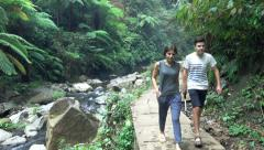People trekking in jungle, super slow motion 120fps Stock Footage