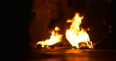 Fire Torches Are Lying And Burning on a Ground Artists Left the Torches after Stock Footage