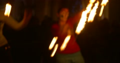 Artists Are Dancing With Fire Torches Fire Light is Blurred Juggling with Fire - stock footage