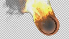 Burning baseball ball rendered in PNG with alpha channel Stock Footage