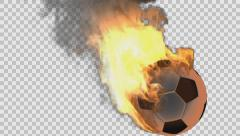 burning soccer ball rendered in PNG with alpha channel - stock footage