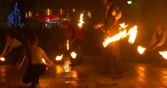 Artists Are Dancing With Fire Torches Juggling with Fire Performs a Tricks - stock footage