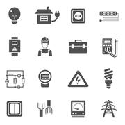 Electricity Black White Icons Set - stock illustration