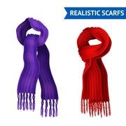 Knitted Scarf Image Set Stock Illustration