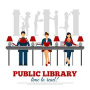Poster Of Scene In Library - stock illustration