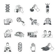 Biotechnology Black Icons Set Stock Illustration