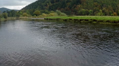 Aerial shot of the River Tweed in Innerleithen, Scottish borders Stock Footage