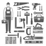 Carpentry Tools Black Silhouettes Icons Set - stock illustration