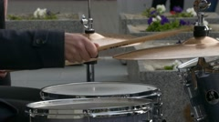 Ungraded: Jazz Drummer Playing Drum Set in Open Air Stock Footage