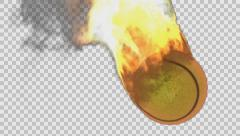 Burning tennis ball rendered in PNG with alpha channel Stock Footage