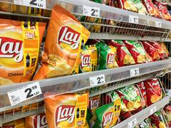 Fast Food Snacks For Sale On Supermarket Shelf Kuvituskuvat