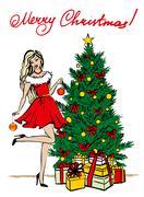 Stock Illustration of woman decorating Christmas tree