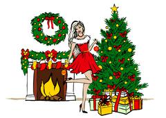 Woman decorating Christmas tree Stock Illustration