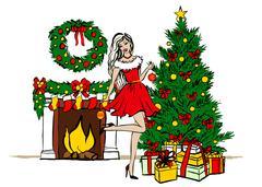 woman decorating Christmas tree - stock illustration