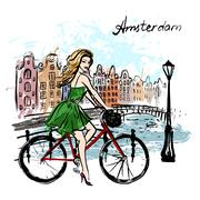 Stock Illustration of woman driving bicycle