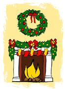 Fireplace with Christmas decoration Piirros