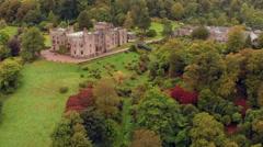 Aerial shot of Muncaster Castle in Cumbria, England - stock footage