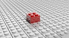 Connected white lego blocks with one red standing out, abstract background. - stock illustration