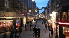 Shopping Street at Christmas in Maastricht Stock Footage
